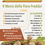 il menu di lumache della 450a Fiera Fredda di Borgo San Dalmazzo, Cuneo, Piemonte